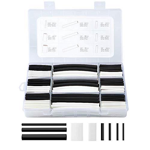 Kit guaina termorestringente, Eventronic 310Pcs Tubo termorestringente 3: 1 con rivestimento adesivo a doppia parete con 7 dimensioni, 2 colori (nero, bianco)