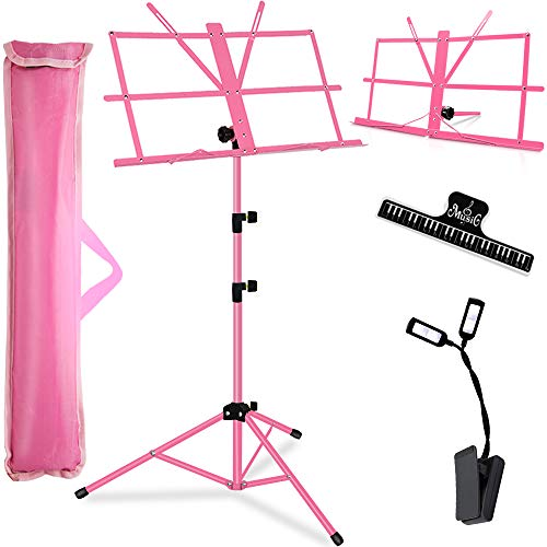 Music Stand, Kasonic 2 in 1 Dual-Use Folding Sheet Music Stand & Desktop Book Stand, Portable and Lightweight with LED Light/Music Sheet Clip Holder/Carrying Bag Suitable (Pink)