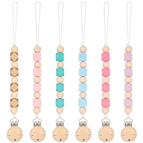 Smilcloud 6 Pcs Schnullerkette Baby Schnuller Clips Schnullerkette aus Holz Nuckelkette Dummy Clips Halter