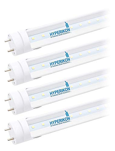 Hyperikon T8 T10 T12 3 Foot LED Tube, 14W=36W, Ballast Bypass, Clear Lens, UL, Daylight White, 4 Pack