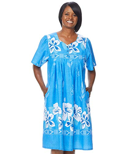AmeriMark Women's Floral Print Dress – Short Sleeve House Dress with Pockets Royal LG