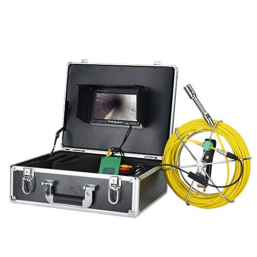 OWSOO 7 Zoll 22mm Endoskopkamera Rohrinspektions-Videokamera 20M IP68 wasserdichte Abflussrohr-Abwasserkanalinspektions-Kamera-System 1000 TVL Kamera mit 6W LED-Lichtern