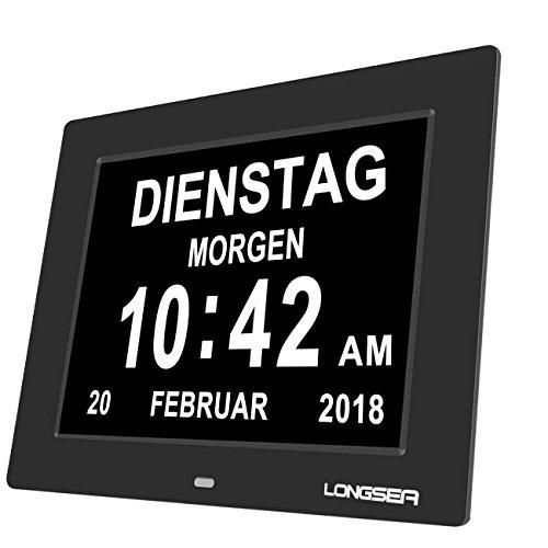 Longsea Digital Wecker Digitaler Kalender Tag Uhr Wanduhr mit Nicht Abkürzungen Tag & Monat Medikamente Erinnerungen für Alzheimer Patienten und Kinder Senioren or Sehschwachen (8 Zoll Schwarz)