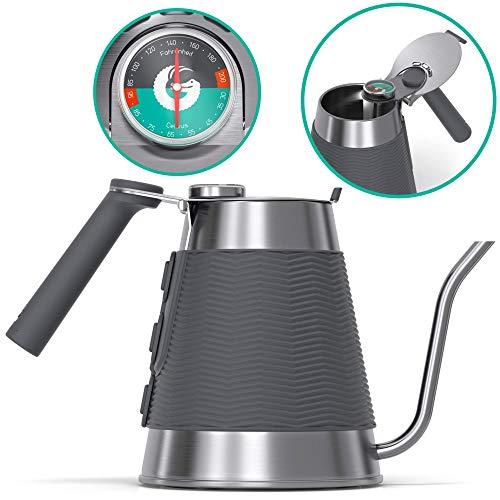 Hervidor True Brew de Coffee Gator - Hervidor profesional con boca cuello de cisne de precisión, termómetro integrado y tapa de llenado rápido - Para todas las cocinas, incluso inducción - 1,6l