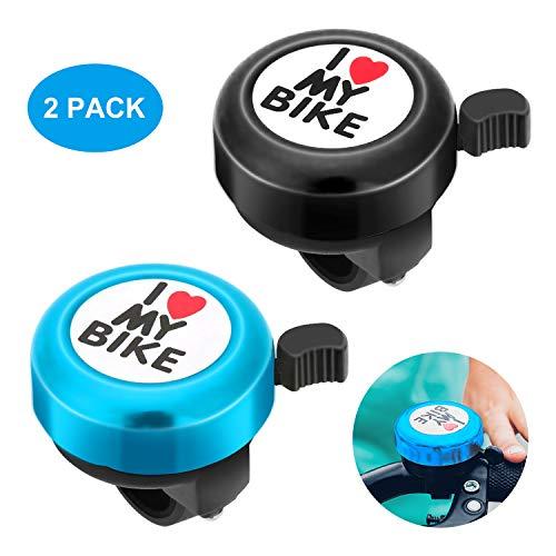 2 Piezas Timbre de Bicicleta, 2 Piezas Timbres de Ciclismo Aleación Aluminio Campanas, I Love My Bike-Mini Campana de Bicicleta Sonido Fuerte/Sonido Claro, Anillo de Bicicleta para Adultos Niños