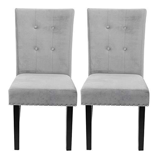 Ejoyous 2 sillas de Terciopelo, Silla de Tela Gris de Estilo Moderno, un par de sillas de Comedor con Patas de Madera Maciza y Respaldo Suave para Sala de Estar, Cocina, Restaurante, Oficina