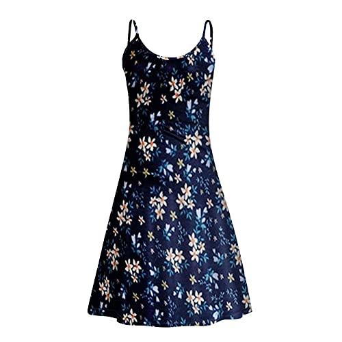 VisSec Sommerkleid Damen Strandkleid Blumen Kleid Kurz Mini Kleider Ärmellos Spaghetti Verstellbare (Dunkelblau, M)