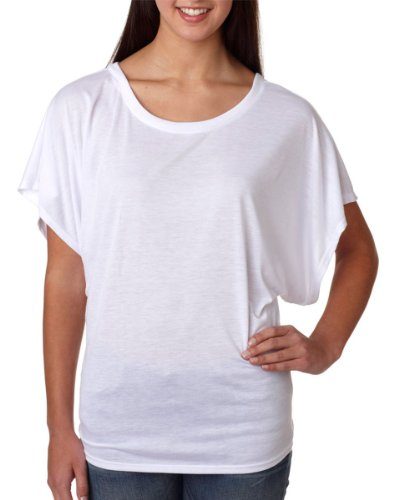 Bella womens Flowy Draped Sleeve Dolman T-Shirt(8821)-WHITE-XL