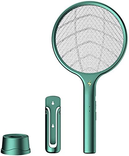 Matamoscas Eléctrico 3 En 1 con Base Raqueta De Tenis Recargable USB...