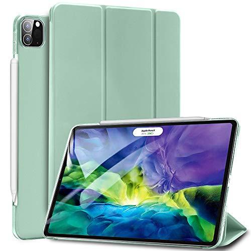 """Sripns Hülle für iPad Pro 11"""" 2nd Gen 2020, Kompatibel mit Pencil, Ultradünn Leicht Dreifach Falt Smart Case mit Transluzent Rücken Deckel und Auto Schlaf/Wach - Mint Grün"""