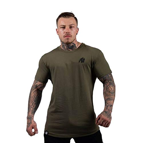 GORILLA WEAR Herren Top - Detroit T-Shirt - Kleidung Rag Shirts Muscle Oldschool Army Green XL
