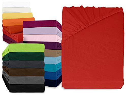 #12 npluseins Kinder-Spannbettlaken, Spannbetttuch, Bettlaken, 70x140 cm, Rot