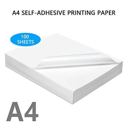 BUYGOO Etiketten Selbstklebend Druckerpapier 100 Blatt - 29,7x21cm 70g /m² Druckerpapier Aufkleber glänzend A4-Format Etikettendrucker, schnelltrocknend geeignet für Tintenstrahldrucker Laserdrucker