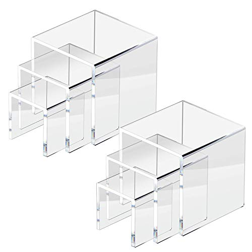 NIUBEE 2 Set Acrylic Risers Display for Funko POP Figures,Clear Cake Stands for Candy Dessert Table Decorations-3