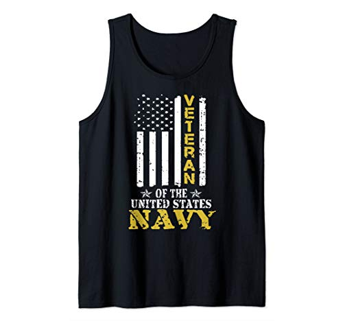 United States Navy Veteran American Flag Patriotic Tank Top