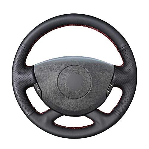 ZIMAwd Cubierta de Volante de Cuero PU Negra Cosida a Mano para Coche, Apta para Nissan Primastar Renault Laguna Trafic Vel Satis Espace Grand