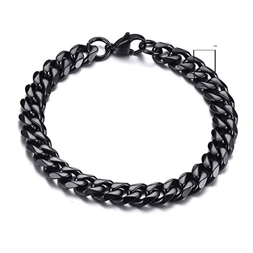 Bracelets Mens Simple 9mm Stainless Steel Curb Cuban Link Chain Bracelets for Women Unisex Wrist Jewelry Gifts 9mmBlack