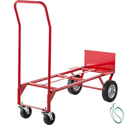Mophorn Carretilla de Transporte Plegable Carretillas de Carga 8 Pulgada Rojo Carretilla Plegable Aluminio Carretilla de Mano Plegable Carretilla Almacen Carretilla Escaleras