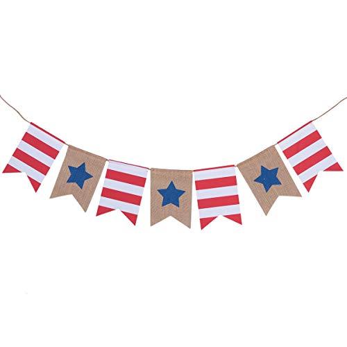 ABOOFAN Bandera de Día de la Independencia, decoración de fiesta, diseño de estrella, bandera de cola de golondrina, guirnalda americana, fiesta de graduación