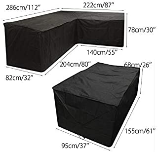 Black Patio L-Shaped Sofa Cover & Table Cover Set for Outdoor Dustproof Furniture Sets Protection (2 Sizes Together)