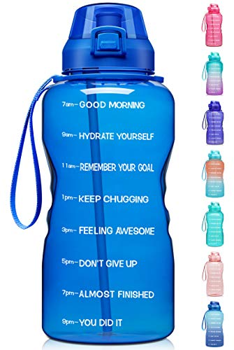 Fidus Large 1 Gallon/128oz Motivational Water Bottle with Time Marker & Straw,Leakproof Tritan BPA Free Water Jug,Ensure You Drink Enough Water Daily for Fitness,Gym and Outdoor Sports-Blue