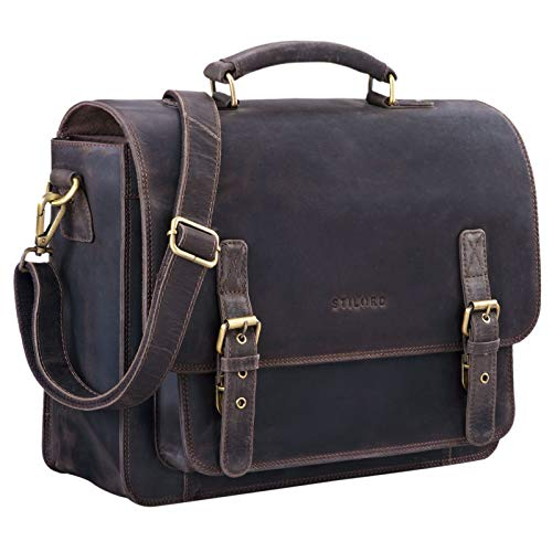 STILORD 'James' Leder Business Aktentasche für Herren Damen Vintage Umhängetasche mit 14 Zoll Laptop Fach große Ledertasche für Lehrer Büro und Arbeit, Farbe:dunkel - braun
