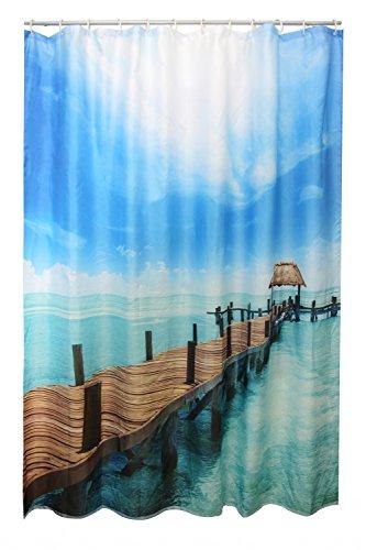Textil Duschvorhang 180 x 200 cm Motiv: STEG inklusive Duschvorhangringe