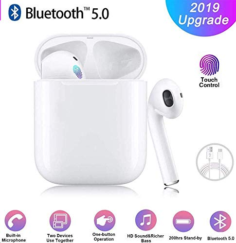 Bluetooth-Kopfhörer, Wireless 5.0 Bluetooth IPX7 wasserdichte Ohrhörer 3D-Surro&-So&-Kopfhörer Sportkopfhörer Integriertes Mikrofon In-Ear-Kopfhörer für Apple Airpods IOS Android
