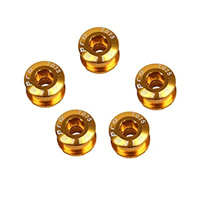 WINGKE 5PCS Single Chainring Bolts 7075 Aluminum Alloy M8 Crankset Single Chainwheel Bolts & Nuts Disc Screws for Road Bike,Mountain Bike,?Golden?
