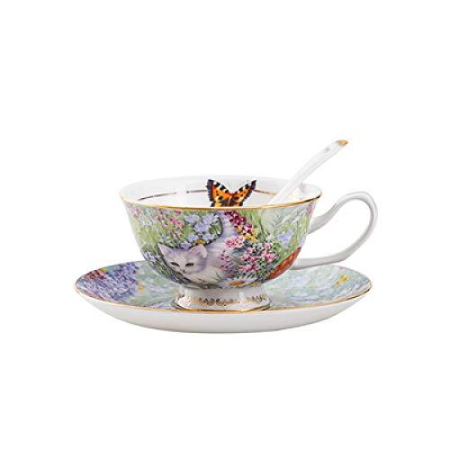 Taza Hotel Creative Cafe European Bone Porcelana Juego de tazas de café Taza de cerámica Taza de pareja femenina Taza de agua Taza de flores para el hogar Taza de leche Taza de desayuno E 10.3 * 5.8CM