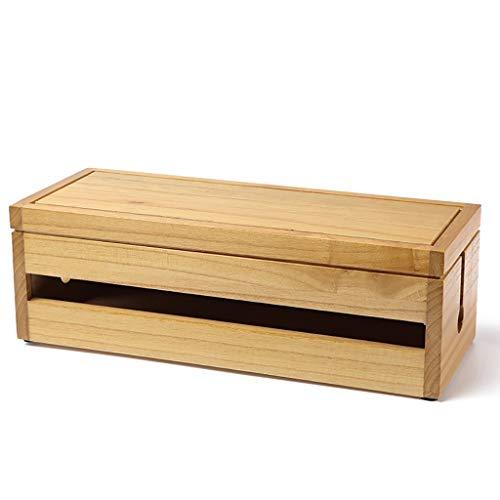 Storage Pudełko z litego drewna menedżer kabli gniazdo zasilania panel łatka puszka rozgałęźna skrzynka wtykowa 4 style (kolor: B, rozmiar: 37,7 * 14,3 * 12,3 cm)