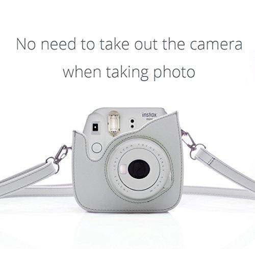 HelloHelio Fujifilm Instax Mini 9 8 8+ Sofortbildkamera tasche für Fujifilm Instax Mini 9 Kamera - Smoky Weiß