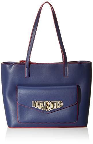 Love Moschino Unisex-Erwachsene Jc4053pp18lf0750 Tote-Bag, Blau (Blu), 26x13x36 Centimeters