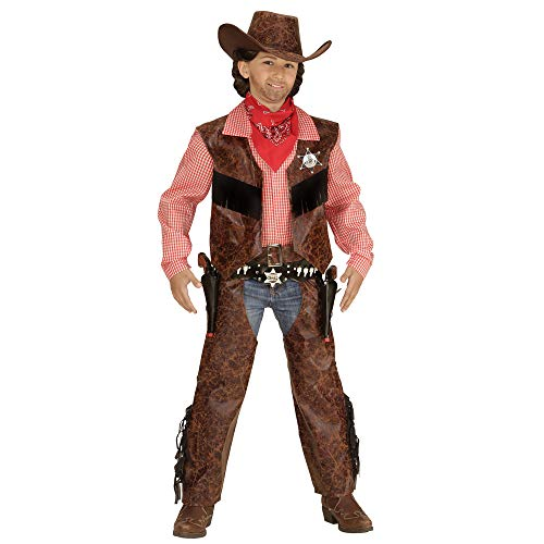 Widmann 05927 Kinderkostüm Cowboy, Shirt mit Weste, Chaps und Hut