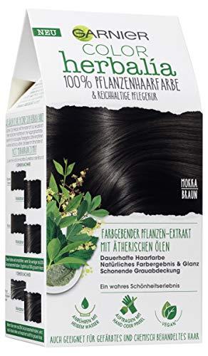 Garnier Color Herbalia Mokkabraun, Pflanzenhaarfarbe mit Henna, Indigo und ätherischen Ölen, vegane Haarfarbe, 3er Pack