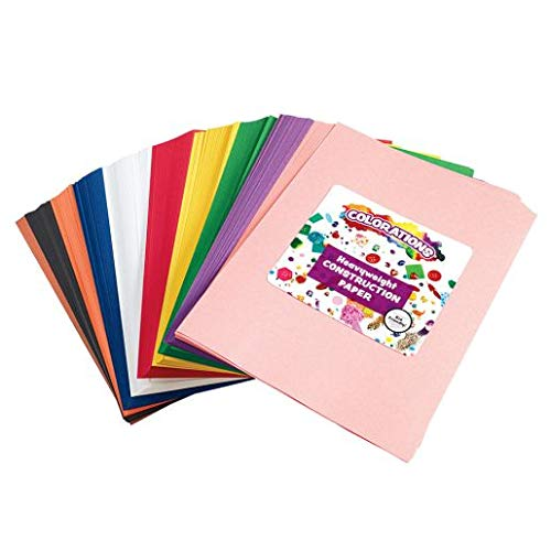 """Construction Paper Pack, 10 Assorted Colors, 9"""" x 12"""", 600 Sheets, Heavy Weight Construction Paper, Crafts, Art, Kids Art, Painting, Coloring, Drawing, Creating, Arts and Crafts (Item # SMARTSTK)"""