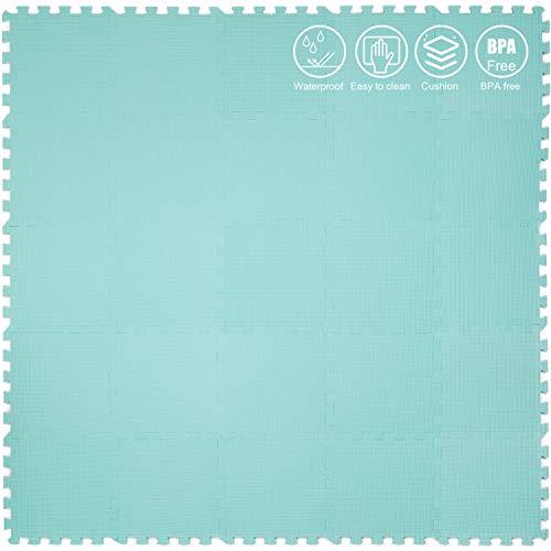 Yostrong Schutzmatten Set Puzzlematte Boden Schutz Matte - 25 Puzzle Bodenschutzmatten Unterlegmatte | spielmatte Baby | Fitnessmatte. Grün. YC-Hb25N
