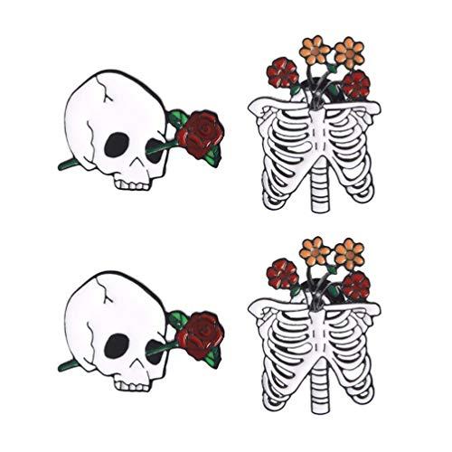TENDYCOCO 4 Pezzi Spilla Pin Rose Smalto Bavero Fumetto Spilla Pin Decorazione per Pasqua Abbigliamento Borse Giacche Accessori Fai da Te