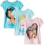 Disney Cenicienta, Pocahontas, Jasmine, Paquete de 3 Camisetas de Cara Grande para niñas, Azul Claro/Rosa Claro/Turquesa Aguamarina, Large
