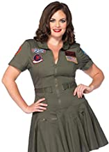 Leg Avenue Women's Size Plus Licensed Top Gun Flight Dress Costume, Green, 3X / 4X
