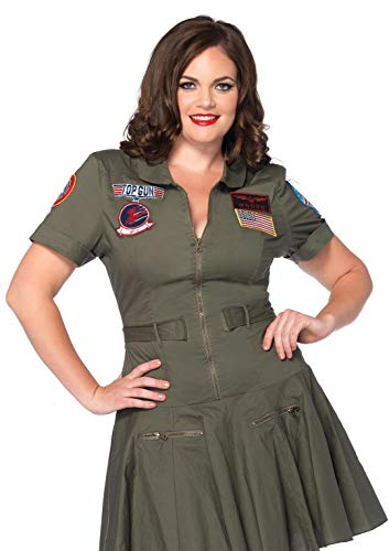 Leg Avenue Lizenziertes Top Gun Flight Kostüm für Damen, Grün, 3X/4X
