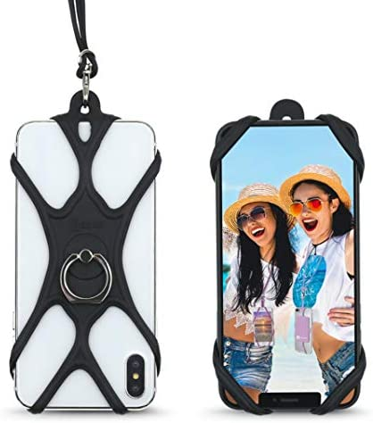 Universal Phone Lanyard Holder and Ring Grip Silicone Cell Phone Lanyard Neck Strap and Phone product image