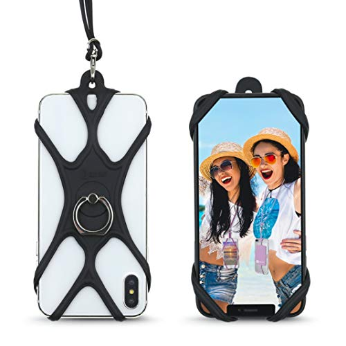 Universal Phone Lanyard Holder and Ring Grip, Silicone Cell Phone Lanyard Neck Strap and Phone Ring Holder Stand Compatible with Most Smartphones