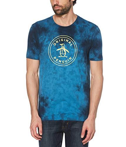 ORIGINAL PENGUIN Herren Short Sleeve Circle Logo Tee T-Shirt, Dunkel Wasserfarben, Klein