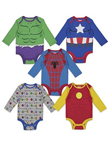 Marvel Baby Boys 5 Pack Bodysuits Hulk Spiderman Iron Man Captain America 0-3 Months