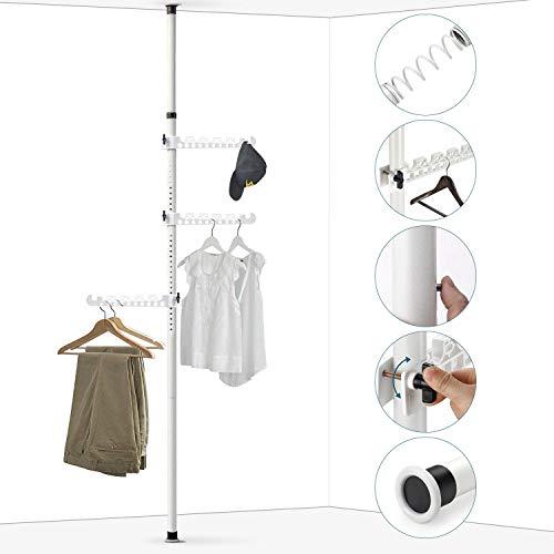 KINLO Garderobenständer Teleskopstange 160-310cm Kleiderständer aus Edelstahl 304 Garderobe Metall Kleiderstange mit 3 Ablagen bis 40kg für Wohnzimmer Schlafzimmer