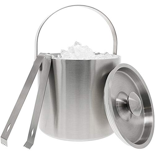 Juvale Portable Stainless Steel Ice Bucket, Double Wall Ice Bucket with Tongs (7.5 in)
