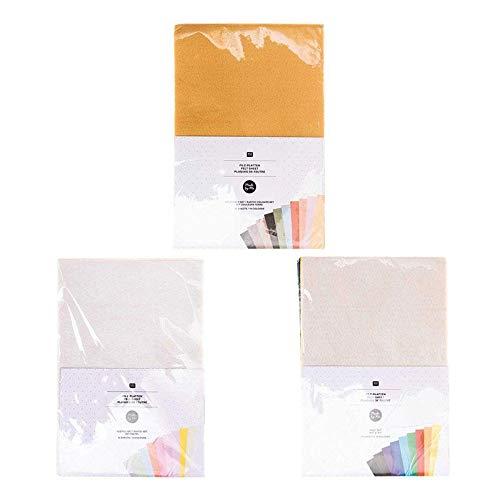 Rico Design 30 Hojas de Fieltro de 20 x 30 cm - Colores Pastel y básicos y Tierra