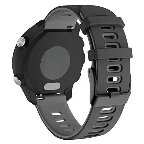 Pulseira Dual 22mm compatível com Samsung Galaxy Watch 3 45mm - Galaxy Watch 46mm - Gear S3 Frontier - Amazfit GTR 47mm - Marca LTIMPORTS (Preto com Cinza)