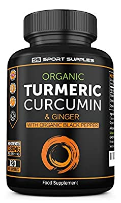 Organic Turmeric Capsules High Strength and Black Pepper Curcumin with Ginger 1380mg - Advanced Tumeric Tablets (Tablet) - Each 120 Veg Capsule is Organic - UK Made Supplement